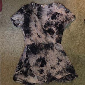 Black and white tie dye romper